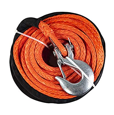 """X-BULL SK75 3/8"""" x 100ft Dyneema Synthetic Winch Rope with Hook Car Tow Recovery Cable?23,809 Lbs,Blue?"""