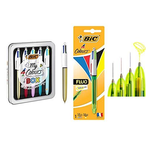 BIC My 4 Colours Box Caja de 5 Bolígrafos 4 Colores (Shine y Fun) en una bonita caja metálica + 4 colores Fluo bolígrafos Retráctiles Tinta Negra, Azul, Rojo y Amarillo Fluorescente