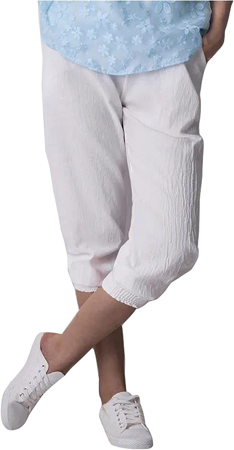 NEEKEY Capris Pants for Womens Casual Cotton Linen Pull On Pants Elastic Waist Harem Pants Cropped Trouser Shorts with Pocket