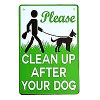 【USA アメリカン デザイン】PLEASE CLEAN UP AFTER YOUR DOG 犬のうんちは掃除してね!! 警告 庭 自宅 ガレージ サインボード ビンテージ バイカー インテリア 看板 ; AVSB-329