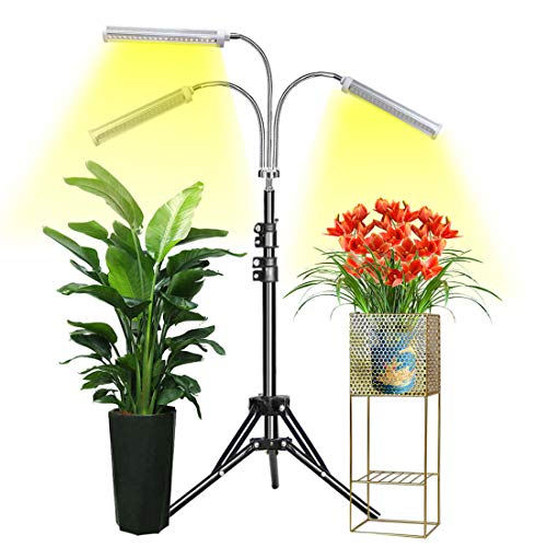 Grow Light Abonnylv Floor LED Grow Light with Stand, Tri-Head Sunlike Full Spectrum 150W 315 LEDs Plant Light for Indoor Plants,Tripod Stand Adjustable 15-47 in & 3 Modes