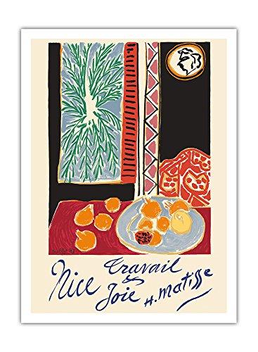 Nizza, Frankreich - Arbeit und Freude - Stillleben mit Granatapfel - Vintage Retro Welt Reise Plakat Poster von Henri Matisse c.1948 - Premium 290gsm Giclée Kunstdruck - 30.5cm x 41cm
