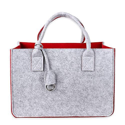 Schramm® Filztasche in 4 Farben wählbar 40x27x27cm Kaminholztasche Einkaufstasche Shopping Bag Aufbewahrungstasche Filz Tasche Filztaschen, Farbe:Rot