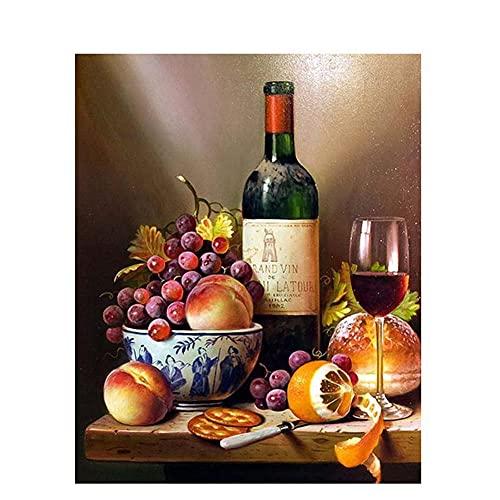 Pintar por Números Kits,Pintar por Numeros para Adultos Niños Pintura de vino DIY Conjunto Completo de Pinturas para el Hogar Decoraciones-Without_Framed_60x75cm E866