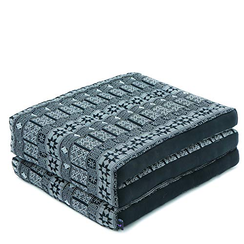 Leewadee Foldable Thai Mattress, 79x20x3 inches, Narrow Guest Bed Tri-Fold Yoga Floor Mat Thai Massage Pad TV Floor Seat Game Chair Eco-Friendly Organic and Natural, Kapok, Black