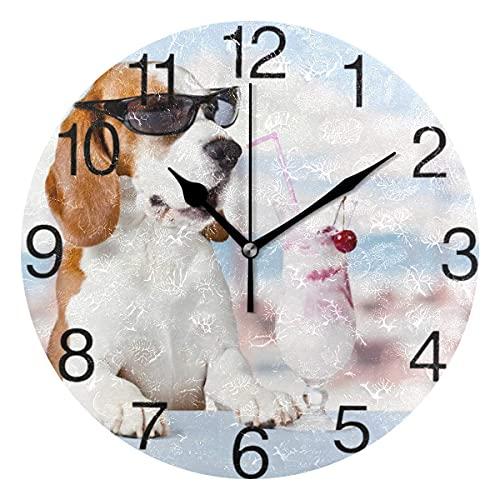 Reloj de pared redondo con diseño de cóctel, diseño de perro en gafas de sol, silencioso y no hace tictac, decorativo para el hogar, oficina, escuela, reloj de arte