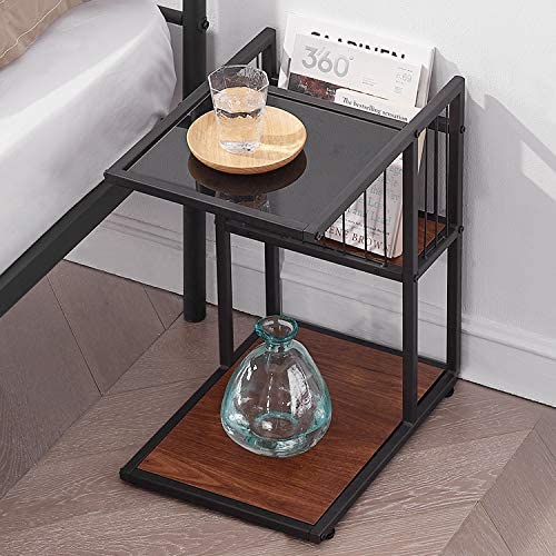 Best VECELO Classic 2-Tiers Accent C, Side/End/Coffee Table with Metal Mesh Storage Basket, Brown