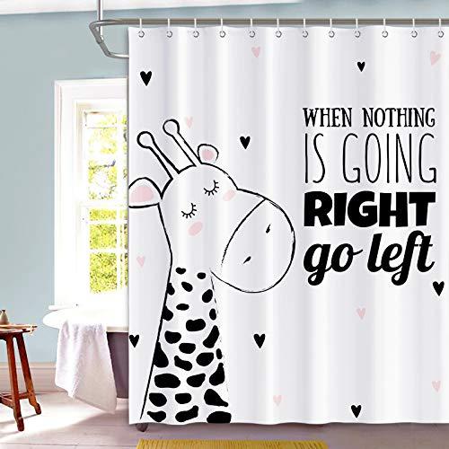 XTUK Home Decor Duschvorhänge Nordic Cartoon niedlich Antibakterielle Badvorhänge wasserdicht Mehltau Toilette Bad Trennwand Free Punch Bad Gardinen Verschiedene Größen verfügbar W220*H180cm