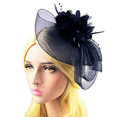 HowYouth Flower Feather Fascinator Headband for Wedding/Ladies Party/Derby/Tea Party