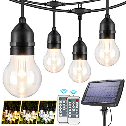 48FT Solar String Lights Outdoor with Remote, 3 Color Dimmable LED Solar Powered String Light for Patio, Hanging Lights with Shatterproof Bulb for Bistro Café Bistro Pergola, Warm White/Daylight White