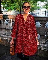 The Drop Vestido para Mujer Suelto de Corte Escalonado y Estampado Animal Naranja Fiery, por @graceatwood,S