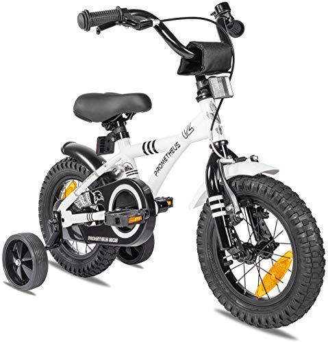 Prometheus Bicicletta Bambini 3-5 Anni da 12 Pollici per Bambino e Bambina con rotelle e contropedale BMX Modello 2021 in Bianco e Nero