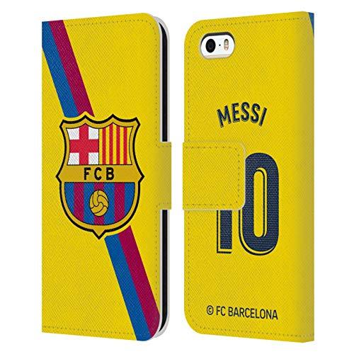 Head Case Designs Oficial FC Barcelona Lionel Messi 2019/20 Jugadores Away Kit Grupo 1 Carcasa de Cuero Tipo Libro Compatible con Apple iPhone 5 / iPhone 5s / iPhone SE 2016