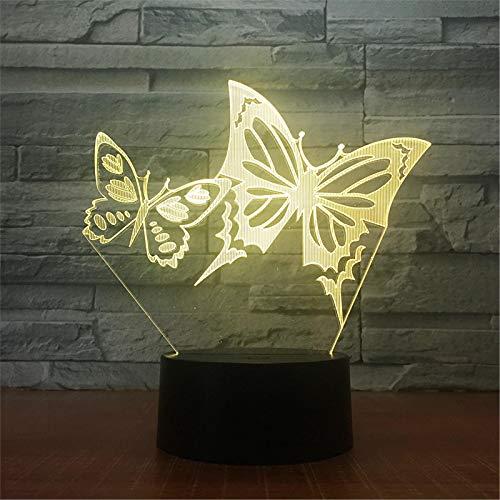 LBJZD luz de noche Alas De Mariposa Luz De Noche Led 3D Panel Acrílico Lámpara De Escritorio De Mesa De Ilusión Estéreo Luz De Bulbo Multicolor Con Control Remoto Táctil Sin Mando A Distancia