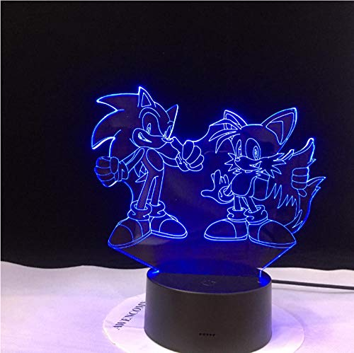 Wangzhuoyue Super Team 3D Visual Illusion Sonic The Hedgehog Night Lights Usb Led Light Lamp For Christmas Gift