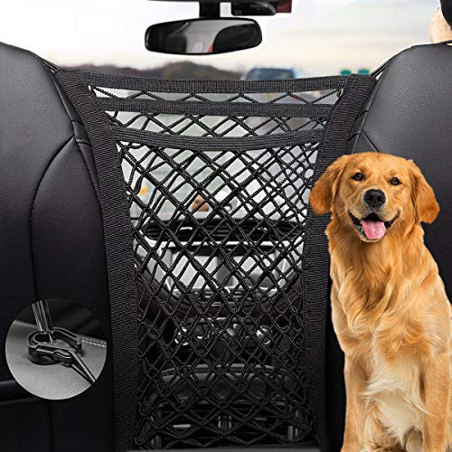 PRIDEEP Dog Car Net Barrier 3 Layers with Auto Safety Mesh Organizer, Universal Stretchable Pet Barrier Backseat Storage Mesh Bag Dog Car Divider Net for Cars, SUVs-Drive Safely with Children and Pets