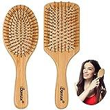Hair Brush Paddle Bamboo Hairbrush- 2PCS Wooden Hair Brush for Long Short Thick Thin Straight Curly Wavy Dry Hair for Men Women
