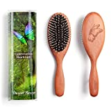 Pure Boar Bristle Nylon Pin Combination (PWC) Hair Brush for Medium Thickness Hair, Pear Wood Handle, Model PWC, Rounded Nylon Pins, Stiff Boar Bristle, Premium Quality Hairbrush, Made in Germany