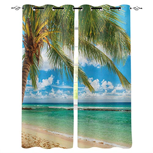 "Blackout Curtains for Bedroom-Room Darkening Thermal Insulated Curtains,Tropical Ocean Beach Coconut Palm Tree Blue Skyline Chic Grommet Window Drapes for Sliding Glass/Patio Door 2 Panels,40""x63"""