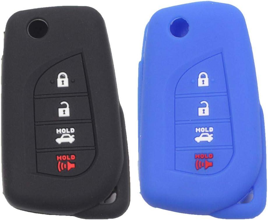 Btopars 2pcs 4 Button specialty shop Flip Folding Key Case Silicone Rubber Boston Mall Fob