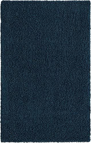 Navy blue shag area rug