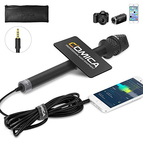COMICA HRM-S Interview Microphone Condenser Cardioid Microphone with 3.5mm TRRS Plug, Reporter Microphone for iPhone Android Smartphone and Laptop, Handheld Mic for Interviews, Reports, Presentation