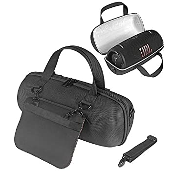 MASiKEN Hard EVA Carrying Case for JBL Xtreme 3/Xtreme 2 Protective Travel Carrying Case for JBL Xteme 3 Waterproof Portable Bluetooth Speaker with Pocket for Charger Adapter Black