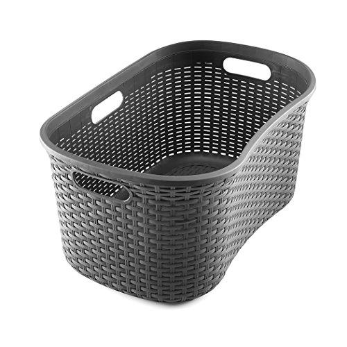 Addis 517994 Faux Rattan Hipster Laundry Basket, Charcoal, 40-Litre