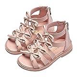 (グードコ) ガールズ サンダル ローマ靴 リボン付き ジップアップ 女の子 サンダル ビーチ ストラップサンダル 14CM-20CM シューズ 通園 通学 かわいい ピンク 16.6 CM
