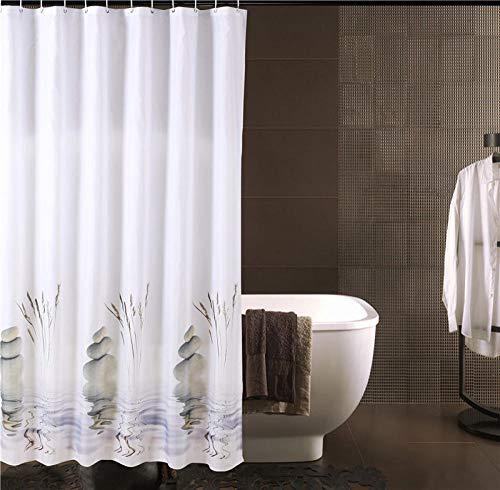 chuanglanja schimmelbestendig douchegordijn waterdicht en schimmelbestendig douchegordijn van polyester met looddraad 12 haken 180 * 180 cm steendruk wit