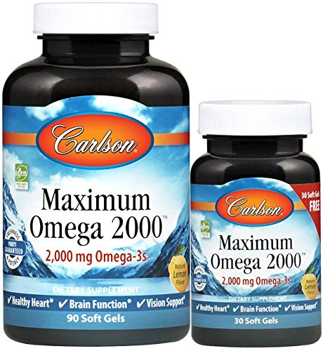 Carlson  Maximum Omega 2000 2000 mg Omega3 Fatty Acids Including EPA and DHA WildCaught Norwegian Fish Oil Supplement Sustainably Sourced Fish Oil Capsules Lemon 9030 Softgels