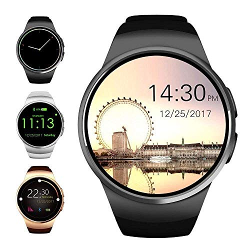 Bluetooth Smart Watch, 1.5 inches IPS Round Touch Screen Smartwatch with SIM Card and TF Card Slot with Sleep Monitor, Heart Rate Monitor and Pedometer for iOS and Android (Black)