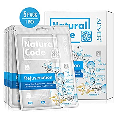 3 In 1 Facial Mask Sheet with Neck Mask, Collagen Essence Hyaluronic Acid Face Mask + Repair Cream for Aging Skin, Wrinkles, Enlarged Pores, Dryness, Lifting and Hydrating, Skin Moisturizing, 5 Pack from Lily Store