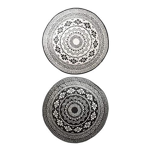 Esschert Design Runder Gartenteppich für Terrasse, Ø 180 cm groß, wasserfest, schwarz-weiß, Schuh-/Fußabstreifer, Tür Vorleger