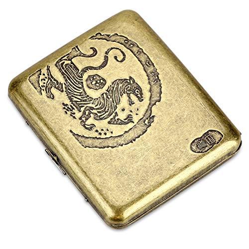 CaLeQi Porta Sigarette Contiene 20,Golden (Fiore di peonia) (Tigre)