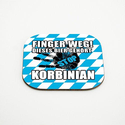 Untersetzer für Gläser mit Namen Korbinian und schönem Motiv - Finger weg! Dieses Bier gehört Korbinian
