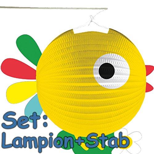 Amscan/Carpeta Set : lampion + baguette * poussins mignons * comme décoration ou jeu pour anniversaire d'enfant, Halloween ou carnaval // fête à thème lanterne ferme, animaux de la ferme