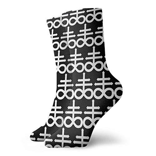 JONINOT Pentagram 666 Calcetines de algodn informales deportivos esenciales para hombre Calcetines de ancho 8.5CM X L30CM
