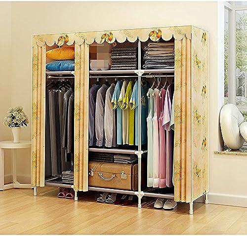 Kleiderschrank Tuch einfache Tuch Stahlrahmen einfache Garderobe Gruppe Lagerung einfache Lagerung Rack (Farbe   3)