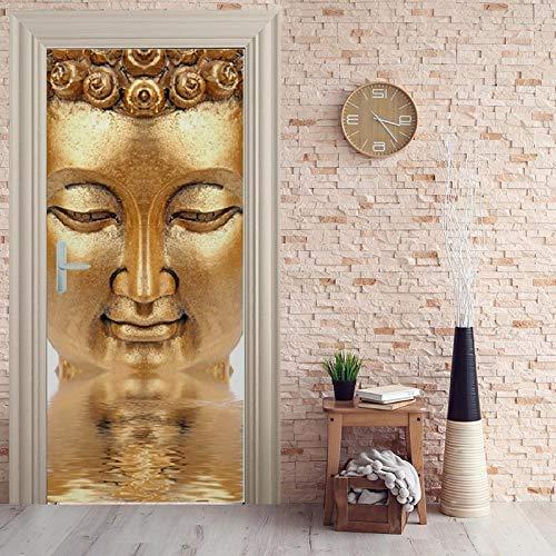 Deursticker, 3D-zelfklevend, boeddha-idee, deurbehang, muurschildering pvc, fotobehang, waterdicht, deurposter, deursticker, afneembaar behang voor deurpaneel, slaapkamer, keuken, badkamer, deur, decoratie 88x200cm
