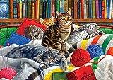 WGXX Rompecabezas para adultos Biblioteca de rompecabezas Gatitos Rompecabezas de 300/500/1000/1500/2000/3000/5000 piezas - gatos animales, rompecabezas de juguete de descompresión intelectual educati