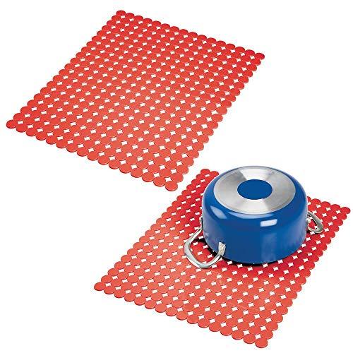 mDesign tapis évier décoratif (lot de 2) – protection évier contre les rayures – tapis d'évier extra-grand en PVC – protection pour fonds d'évier...