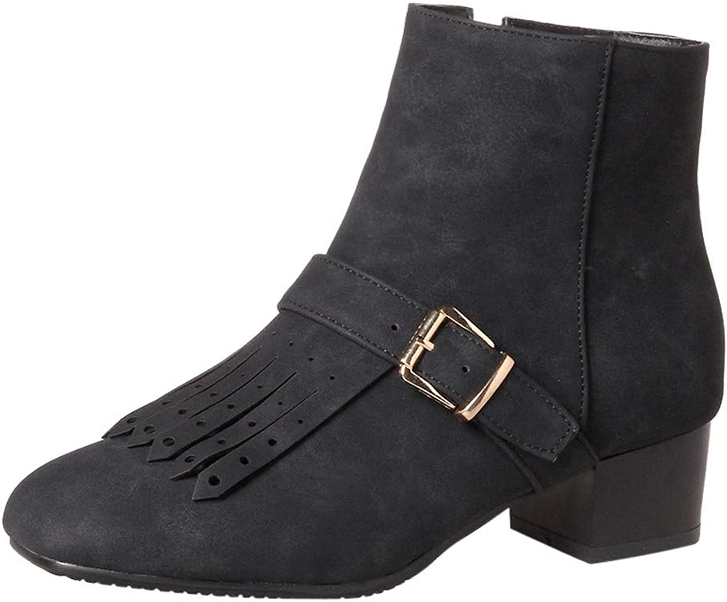 RedBrowm-women Solid Warm Tassel Retro Leather Ankle Martin Short Boots Round Toe shoes Black