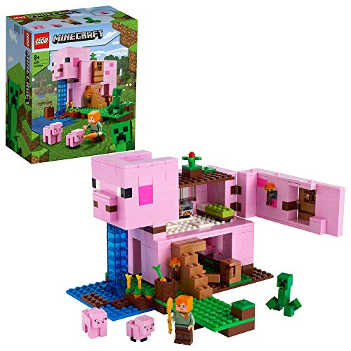 LEGO Minecraft La Pig House, Costruzioni per Bambini con Casa a Forma di Maiale, Alex e Il Creeper, 21170