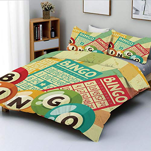 Duplex Print Duvet Cover Set Twin Size,Bingo Game with Ball and Cards Pop Art Stylized Lottery Hobby Celebration ThemeDecorative 3 Piece Bedding Set with 2 Pillow Sham,Multi,Best Gift For Kids & Adult