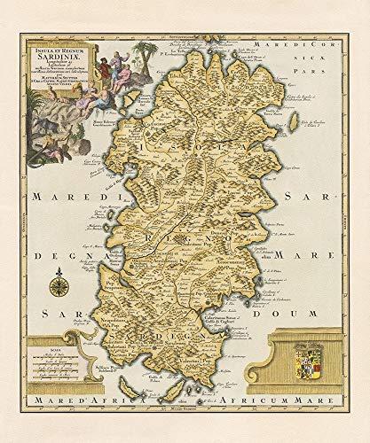 AFDRUKKEN-op-GEROLDE-CANVAS-Oude-kaart-Sardinië-Island-anonymous-Europese-Afbeelding-gedruckt-op-canvas-100%-katoen-Opgerolde-canvas-print-Kunstdruk-op-ger-Afmeting-101_X_83_cm