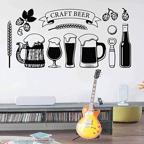 Adesivo Da Parete Birra Artigianale Decalcomania Da Muro Tazza Di Vetro Bevanda Alcolica Pub Bar Decorazione D'Interni Vinile Finestra Orzo Birra Arte Murale Ornamento 57 * 115 cm