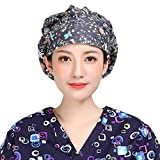 YOOBNG Unisex Adjustable Caps Bouffant Working Hats with Sweatband Beatiful Flower Pattern Printed, One Size