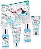 BRUBAKER Cosmetics - Coffret de bain & douche - Noix de coco/Flamant rose - 5 Pièces - Trousse de toilette pratique - Idée cadeau