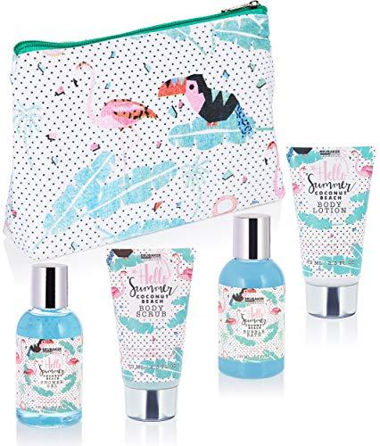 BRUBAKER Beautyset Kokosnuss Duft - 5 tlg. Geschenkset mit Kulturtasche - Flamingo Aufdruck